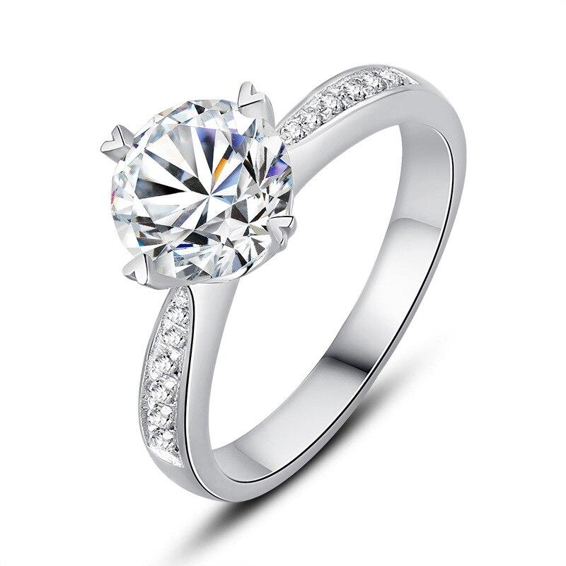 Argent pur 1.5 Carat haute teneur en carbone Diamant synthétique anniversaire mariage argent S925 bagues (JSA) - 2