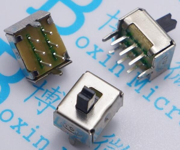 Free shipping SS22D07 SS-22D07 6PIN 2P2T DPDT toggle switch side slide switches handle 4mm best quality.