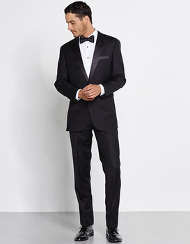 2017 Latest Coat Pant Designs Black Man Tuxedos Two Buttons Three Pockets Two Pieces Mens Formal Wear(Jacket+Pants)