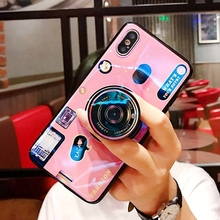 For Samsung Galaxy J4 Prime Case Camera Pattern Soft TPU Silicone Cute Hidden Stand Holder Cover