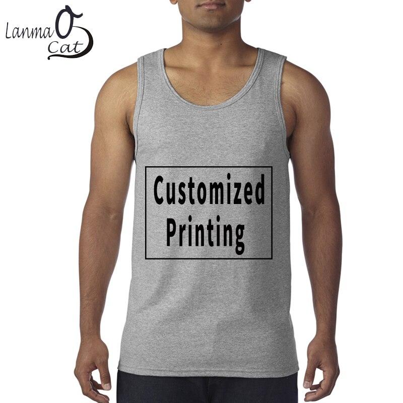 Us 12 61 Lanmaocat Cotton Tank Tops Male Blank Men Custom Summer Print Casual Vest Customized Free Shipping In
