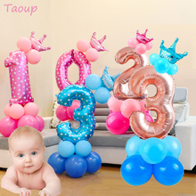 hot deal buy taoup crown air balloons number ballons accessories happy children's birthday balloons birthday balon helium baby shower decor
