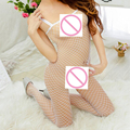 FEITONG Free Size exotic Lingerie women Spandex Open Crotch Mesh Bodystockings Fishnet Thigh High body stocking Nightwear &20