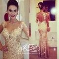 Мантия-де-вечер 2015 новое поступление один длинным рукавом вечернее платье русалка блестки свадебное платье ну вечеринку платье вечерние платья