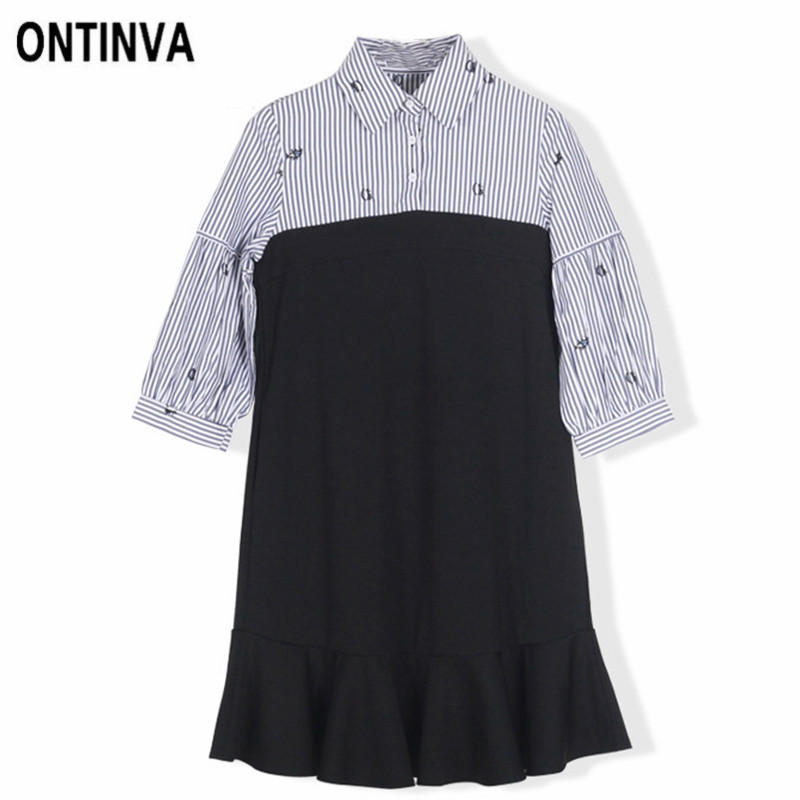 2a0da5d894a Women Vintage Embroidery Mini Dresses Plus Size Turn down Collar A Line Striped  Patchwork Ruffles Dress Retro Vestidos 2018 -in Dresses from Women s ...
