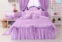 Lavanda Rendas de luxo Consolador Define Queen/Twin Size, romântico Rosa Roxo Princesa Duvet Cover Set, Cama de casamento, Saias da Cama