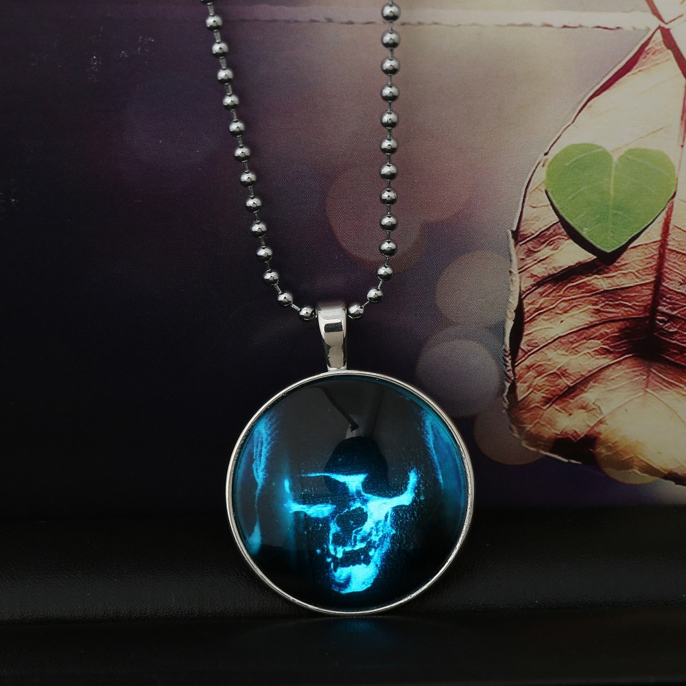 hot Glowing Steampunk Fire Glow in the Dark Halloween Monster Pendants  Necklaces Stainless Steel Chain For