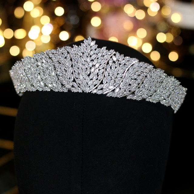 ASNORA Cổ Điển CZ Đính Đá Cubic Zirconia Cưới cô dâu Mũ Đội Đầu Thái Đầu nữ Dự Tiệc Phụ Kiện Trang Sức
