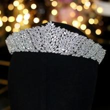 ASNORA Diadema clásica de circonia cúbica para mujer, tocado de novia para boda, accesorios de joyería para fiesta