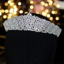 Asnora clássica cz zircônia cúbica, casamento, endereço, coroa, feminina, acessórios de joias para festa