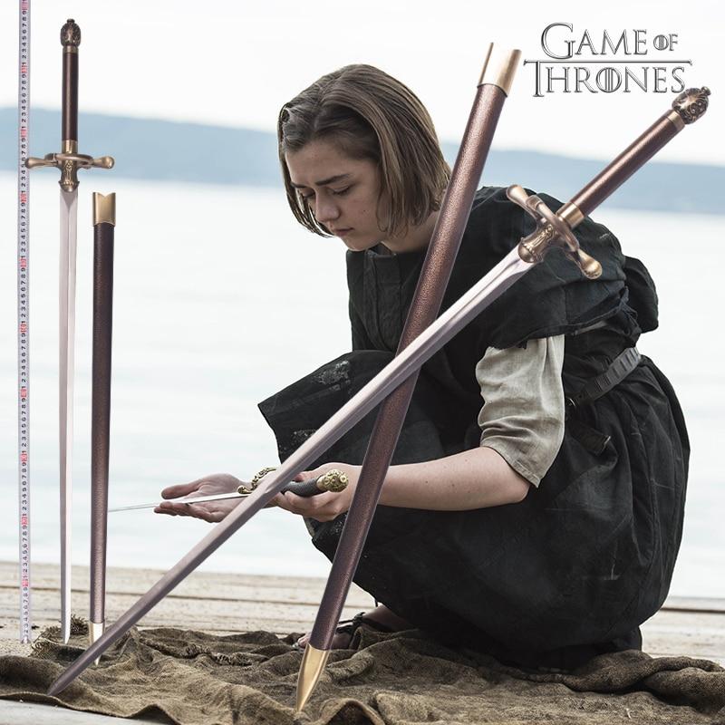 Game of Thrones Arya Stark Agulha Espada 80 cm ou 98 cm Material de decoração para casa em aço inoxidável