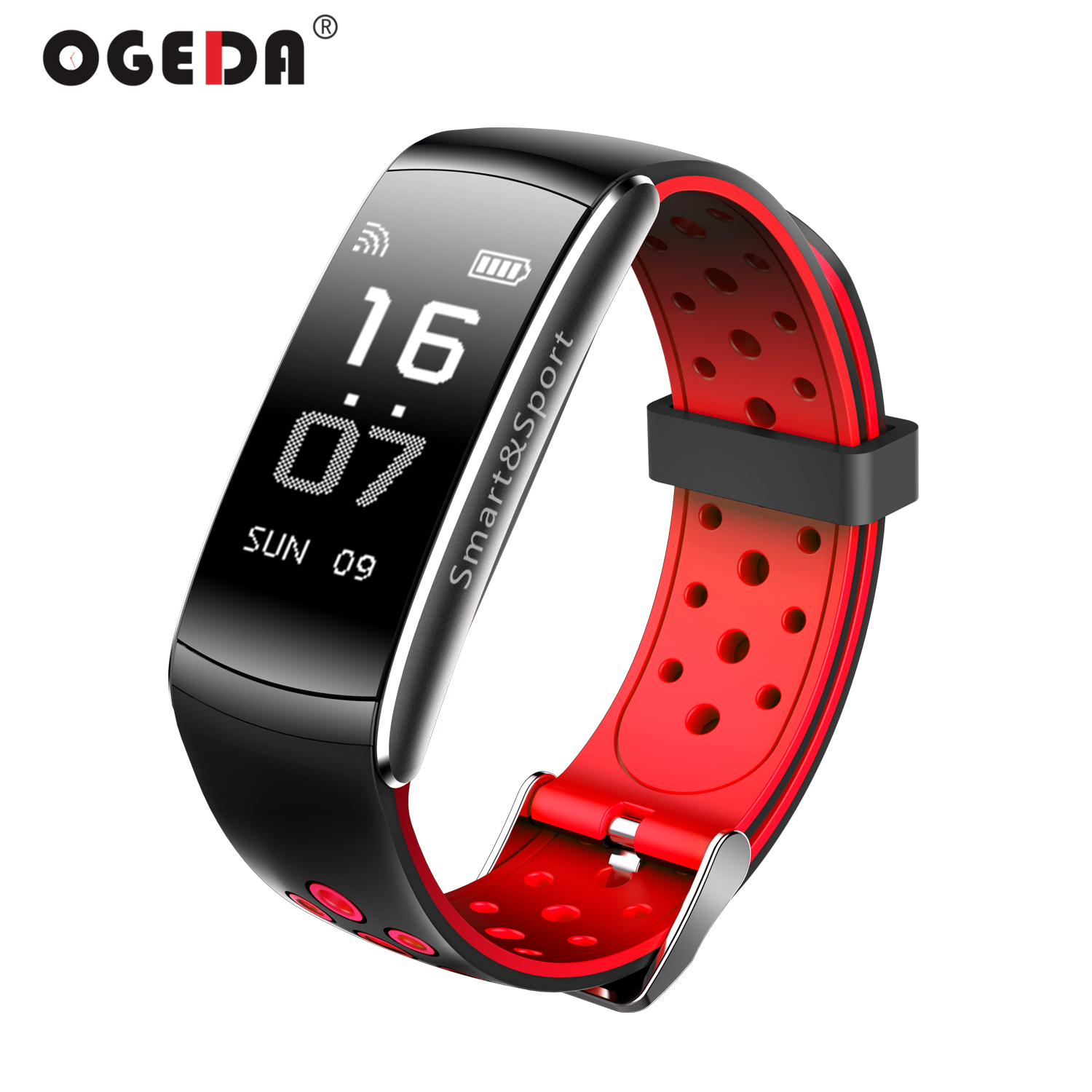 New OGEDA Smart Watch Women Q8 Heart Rate Monitor IP68 Waterproof Fitness Tracker Blood Pressure Bluetooth for Android iPhone