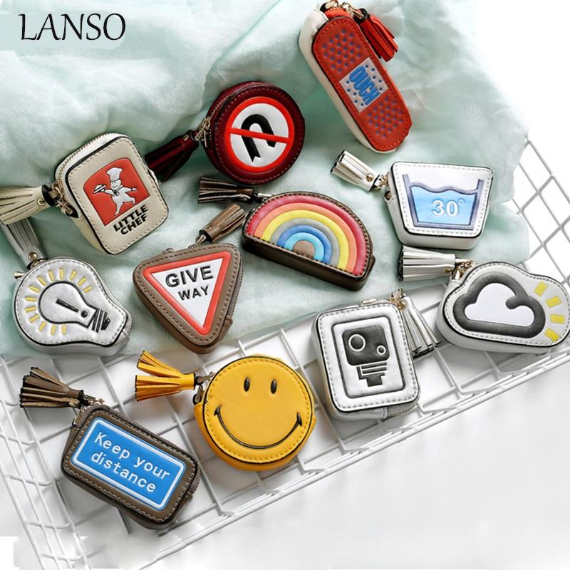 Smiley Face Coin Purse Tassel Pendant Cute Mini Korean Style Keychains Wallet Different Creative Shape Leather Pouch Girls Bolsa
