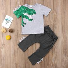 Set of baby clothing baby toddler boy girl clothes dinosaur tops t-shirt +pants trousers outfits set picturesque childhood printed car cartoon baby boy clothing double set suspenders trousers pants style strap baby s set