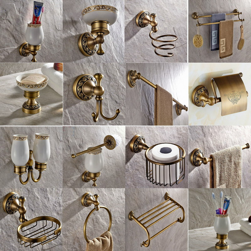 Bathroom Accessories Antique Brass Collection, Towel Ring, Paper Holder, Toilet Brush, Coat Hook, Bath Rack, Soap Dish aset007