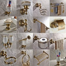 Bathroom Accessories Antique Brass Collection, Towel Ring, Paper Holder, Toilet Brush, Coat Hook, Bath Rack, Soap Dish aset007 antique brass luxury bathroom accessory paper holder toilet brush rack commodity basket shelf soap dish towel ring