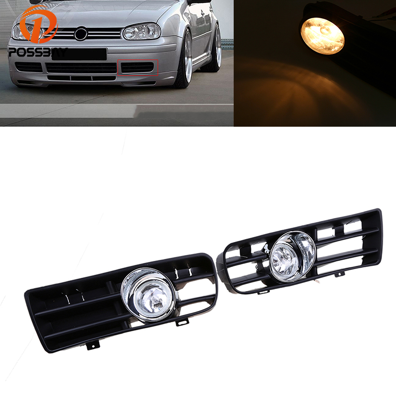 POSSBAY Halogen LED Car Front Bumper Fog Light for Golf 4 Daytime Running Driving Light for