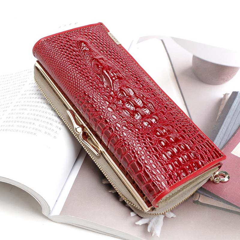 Alligator Genuine Leather Wallet Women Luxury Brand Female Purse Long Lady Party Wallet Clutch Cow Leather Purse Bag