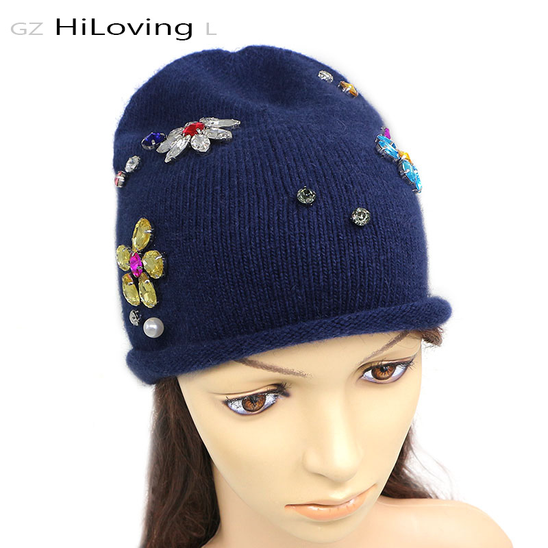 GZHilovingL New Good Quality Autumn Winter Diamond Beanies Hats Solid Soft Warm Wool Female Knitted Skullies Beanie Cap Girl Hat