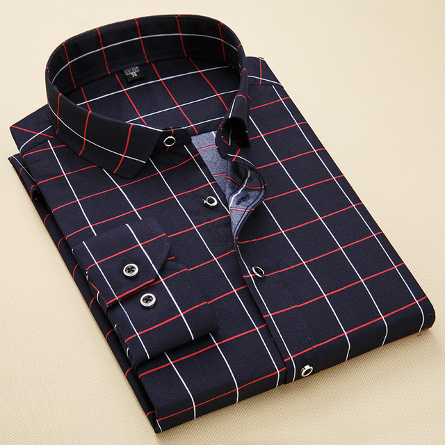 Fashion Men 39 s Clothes Simple Formal Turn down Collar Plaid Men Shirt Long Sleeve Black Shirts Dress Casual Slim Fit Clothing 4XL in Casual Shirts from Men 39 s Clothing