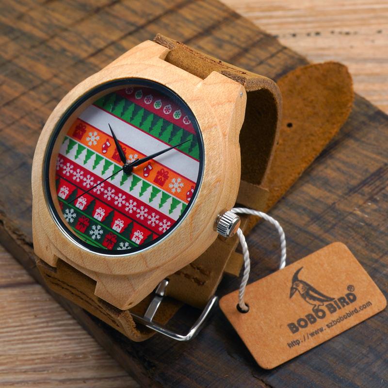 Prix pour Bobo bird de noël style hommes et femmes bambou bois robe montres avec bracelet en cuir et japonais 2035 mouvement pour cadeau