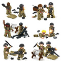 12PCS World War 2 Biochemical War Military US Soldier VS Zombie  With Weapons Compatible Legoe Model Block Brick Toy