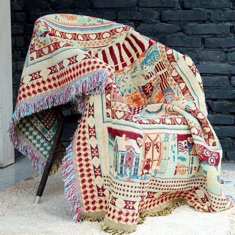 Bohème canapé jeter couverture Boho tricot chaise canapé couverture serviette géométrique tapis doux coton voyage tissé vélo literie tapisserie
