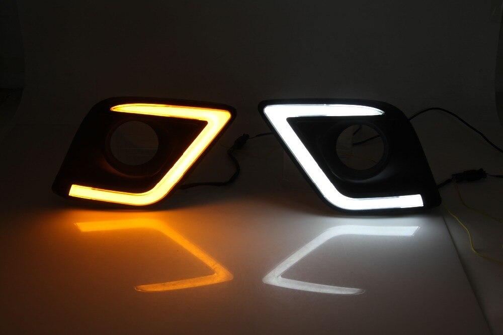 Accessoires de voiture haute puissance LED feux de jour LED DRL pour Toyota Hilux revo Vigo 2015 2016, avec le clignotant jaune