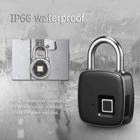 Fingerprint Padlock Smart Keyless Lock Waterproof Anti theft Security Lock Portable USB Charge Padlock For Luggage Cabinet Door