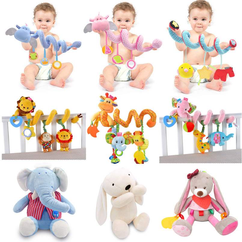 Baby Toys 0-12 Months Crib Rattles Mobile Baby Toys Comfort Stuffed Animal Educational Toys Bed Bell Plush Dolls Toys For Baby