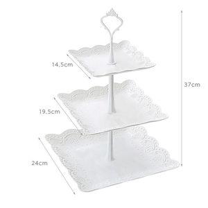 Image 3 - Soporte de pastel de 3 niveles de alta calidad, decoración para bandejas de Magdalena redonda, fiesta de cumpleaños de boda, soporte de pastel de té por la tarde