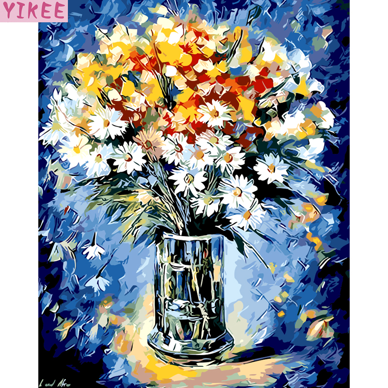birthday gift flowers canvas painting by numbers,DIY oil painting by numbers flowers for home beauty decoration