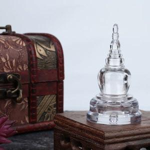 Acrylic Stupa Tibetan Thailand Buddhism Tower Sarira Pious Crystal Pagoda Home Office Decoration Ornament Miniature Model(China)