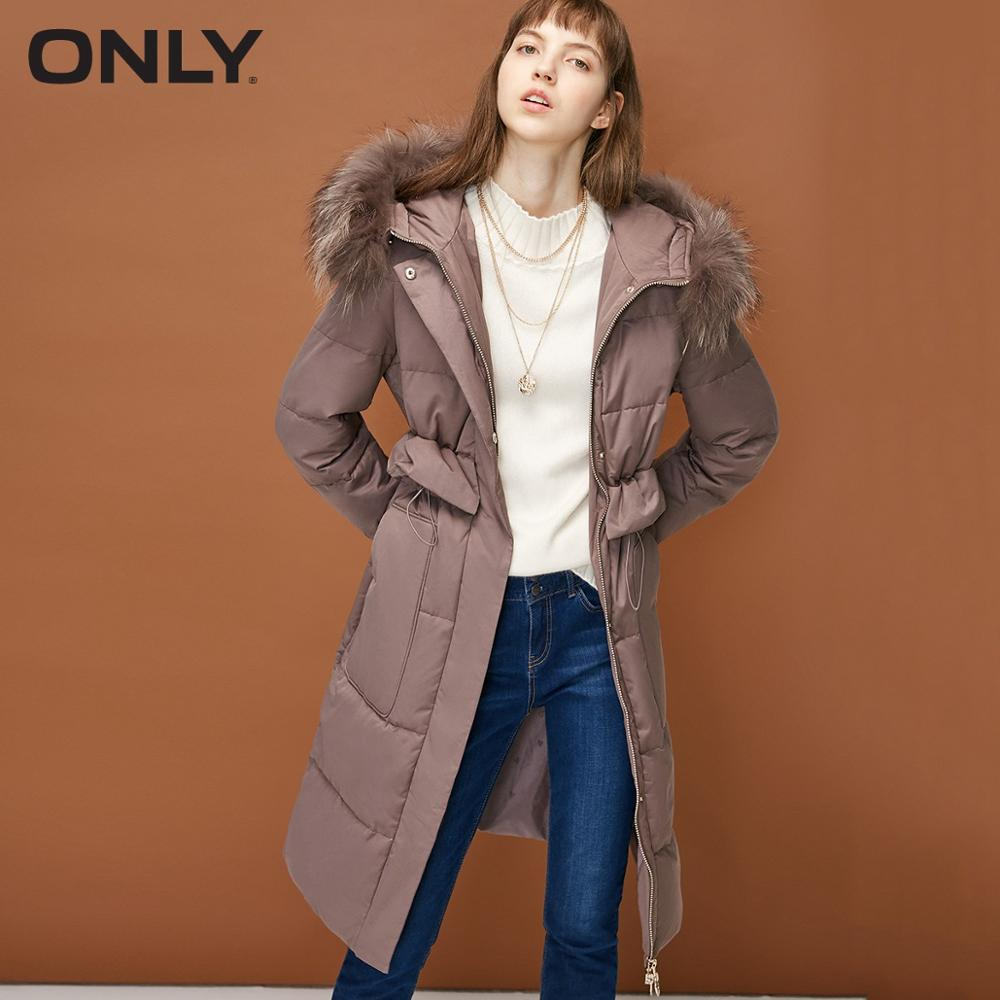 ONLY  Womens' Winter New Drawstring Hooded Long Down Jacket Waist Duck Down Practical Large Pocket|118312506