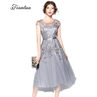 Foamlina 2017 New Fashion Runway Dress Elegant Grey Summer Women S Dress Short Sleeve Mesh Embroidery