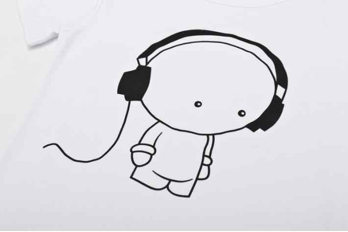 Qrxiaer/женская и мужская футболка с принтом «Музыка», футболка с короткими рукавами для мальчиков, модная футболка для мальчиков и девочек, футболка, черно-белый лонгслив для пары