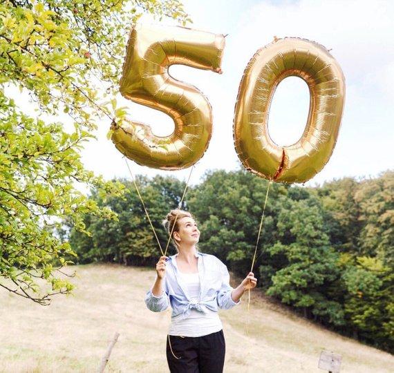 2 шт., 32 или 40 дюймов, с днем рождения, 50, фольга, воздушные шары, розовый, синий, золотой, с номером 50-летнего возраста, вечерние украшения, това...