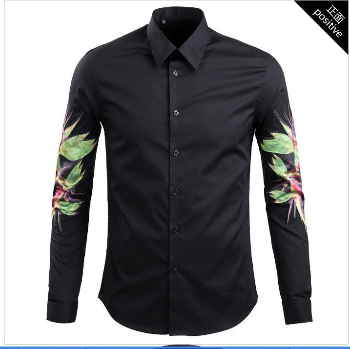 New fashion designer brand print flower club shirts for for Branded casual shirts for men