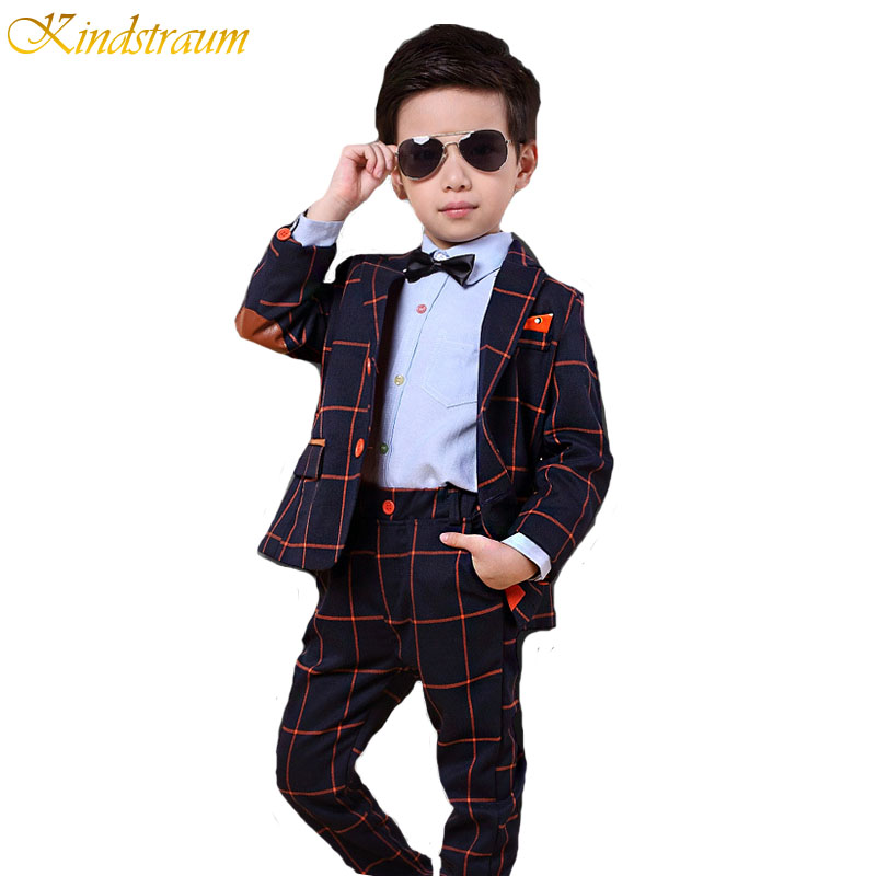 Kindstraum 2017 New Kids Formal Suits For Boys Gentleman Style Plaid Clothing Sets Blazer + Pant 2pcs Wedding & Party Wear,MC159 baby boy clothes suits vest plaid shirt pants 3pcs set party formal gentleman wedding long sleeve kid clothing set free shipping