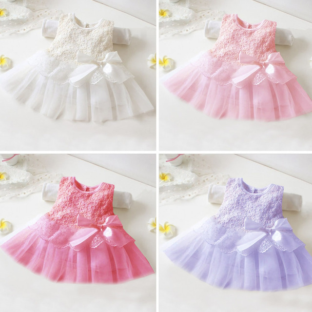 2017 Summer Baby BB Children Pretty Lace Dress Princess Bowknot Bow Party  Infant Wedding Dresses Gift Kids Girls Clothes Outfit c1c17f2b8028