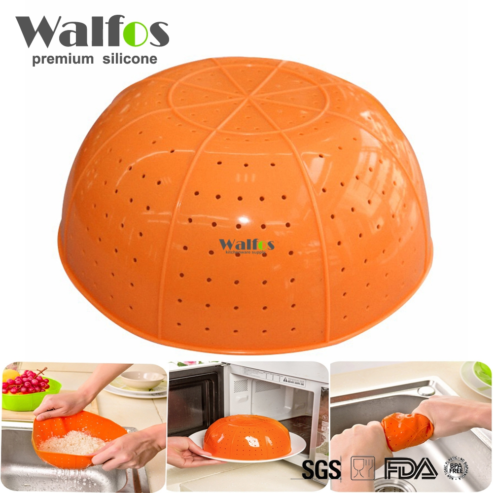 WALFOS Food Grade Multifunctional  Silicone Kitchen Drain Basket Rice Washing Vegetables And Fruit Baskets Microwave Dish Cover
