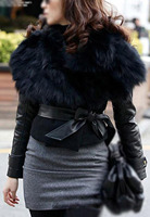 Hot Women's Faux Fur Sunday Angora Yarns Coat Sleeveless Outerwear With Belt-black