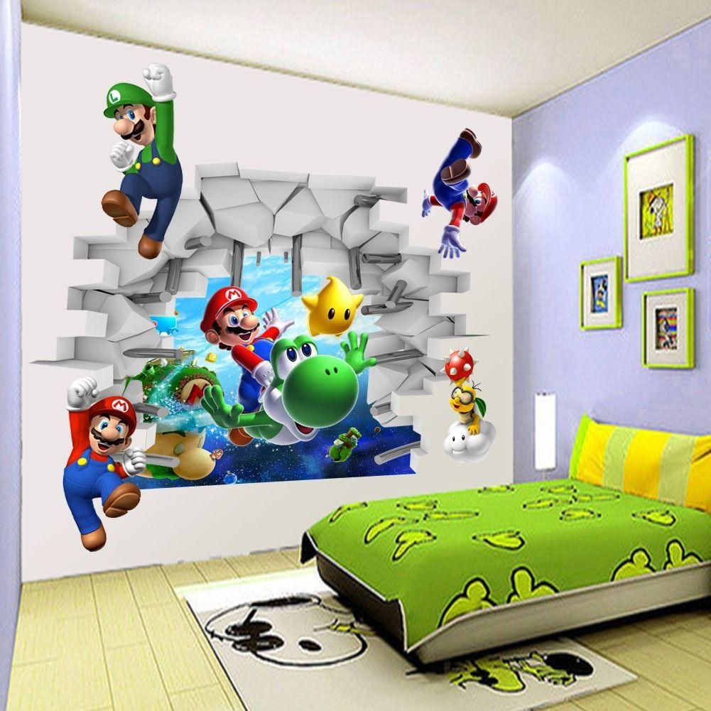 Lovely Aliexpress.com: Compre Visualização Em 3D Super Mario Jogos Arte Kids Room  Decor Adesivos De Parede Decalques De Parede Mural WS De Confiança Sticker  Wall ... Part 9
