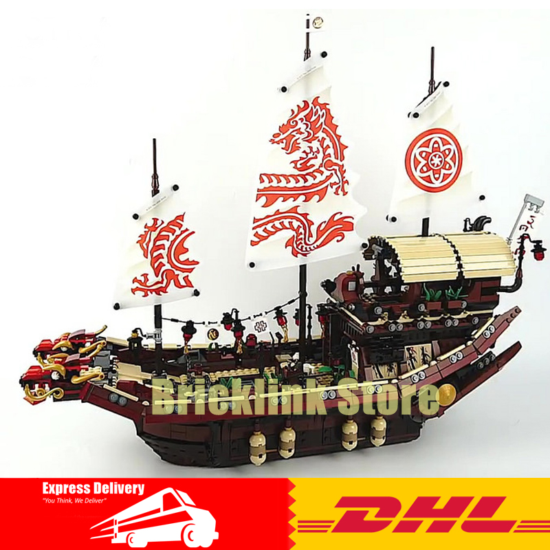 DHL Lepin 06057 2455pcs Ninja Final Fight Of Destiny\'s Bounty Building Block Compatible 70618 Brick Toy lepin 06020 final flight of destiny s bounty 1325pcs ninja building blocks toys for children gifts compatible legoinglys 70738