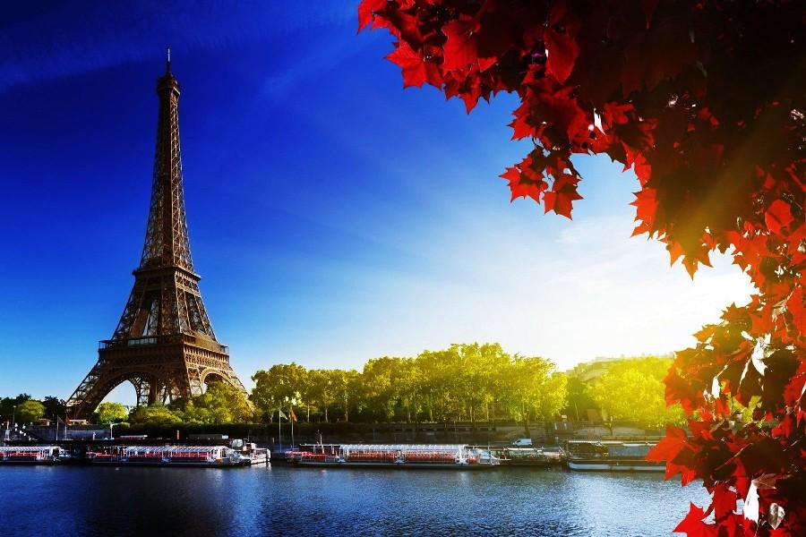 DIY marco ciudad de París Torre Eiffel, Hojas de arce, barco paisaje ...