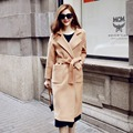 New Women's Wool Coat Autumn and Winter 2016 Solid Color Turn-down Collar Thick Adjustable Waist Loose Long Wool Coat Female