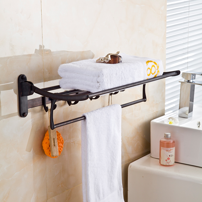 Oil Rubbed Bronze Bath Towel Rack Folding Movable Bath Towel Holder Double Towel Rails Bars Wall Mounted With Hooks