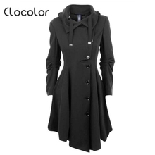 Clocolor Asymmetric Black Coat Stand Collar Long Sleeve Women Overcoat Elegant Single-Breasted Slim Fall Winter women coat