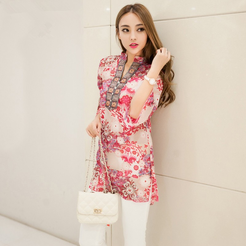 4bb005685fb2 plus size chiffon women blouses bohemian indian tops summer blusas 5XL  embroidery long shirt blouse dress ladies blouses shirts-in Dresses from  Women's ...