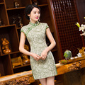TIC-TEC chinese traditional dress women vintage cheongsam short qipao oriental dresses elegant linen evening clothes P2944
